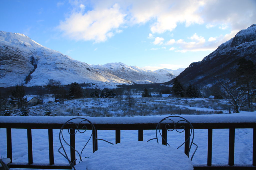 View from decking in the winter