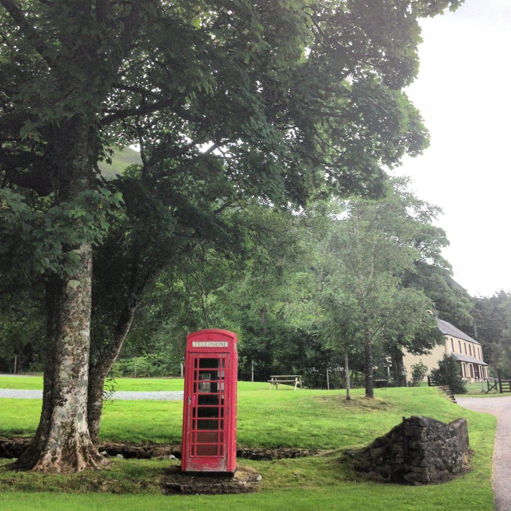 Red telephone box at Killilan Estate